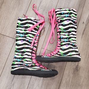 Girls Justice size 5 hightop neon sneakers